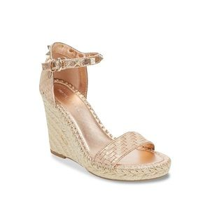 Marc Fisher Rose Gold Studded Espadrilles Wedge 6M